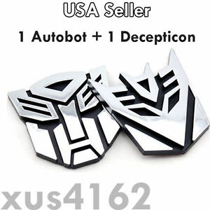 3d Chrome 1 Autobot 1 Decepticon 3 Inch Transformers Emblem Badge Decal Car