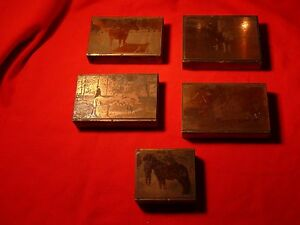 Ca 1890 Five Copper Etching Wood Printers Blocks Equestrian Horses Military