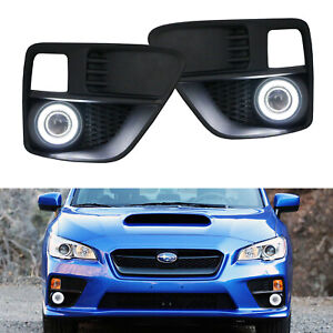 Complete Projector Foglight Kit W led Halo Ring Drl Driving For 15 17 Subaru Wrx