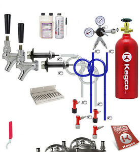 Kegco Kegerator Home Brew 2 Keg Tap Draft Beer Conversion Kit Pin Lock Co2 Tank