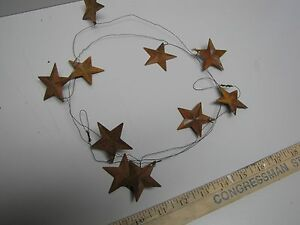 Dlcc 60 Rustic Wire Garland With 10 1 5 Rusty Tin Stars Primitive Home Decor