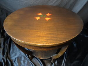 Vintage French Art Deco Round Cherrywood Centre Coffee Table Home Hotel Cafe