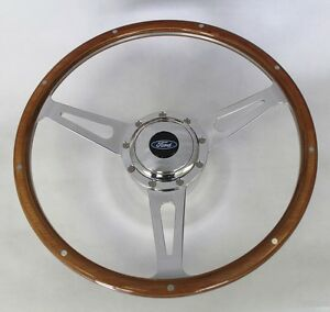 Bronco F100 F150 F250 Gt 9 Hole Wood Steering Wheel 15 Ford Center Cap