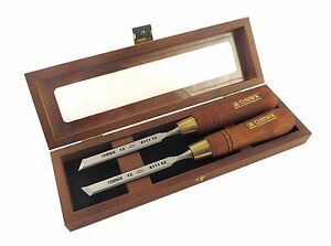 Narex Pair Right Left 12 Mm 1 2 Skew Paring Chisels In Wooden Box 851662