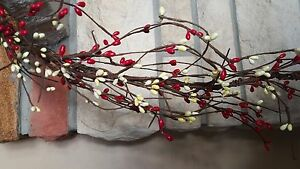 Dlcc 24 Red White Pip Berry Garland Primitive Two Feet