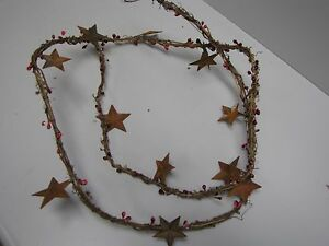 Dlcc 60 Grapevine Pip Berry Garland With Rusty Tin Stars Primitive Home Decor