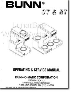 Bunn Bunnomatic Ot Rt Coffee Maker Operation Service Repair Parts Manuals