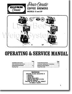 Bunn Bunnomatic S And Sp Coffee Maker Operation Service Repair Parts Manual