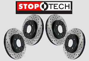 front Rear Set Stoptech Drilled Slotted Brake Rotors evo W brembo Sts57803