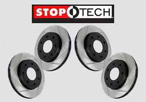 Front Rear Set Stoptech Slotted Brake Disc Rotors Evo X W Brembo Sts57814