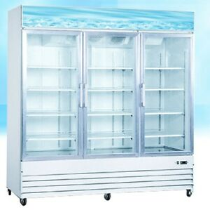Omcan Re cn 0052 3 door 52cf Commercial Glass Display Refrigerator Cooler New