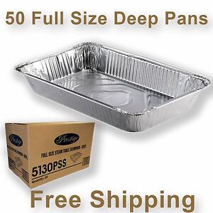 50 Full Size Deep Aluminum Steam Table Pan Disposable Party Trays 5130p