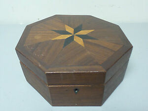 Unusual Antique Octagonal Shaped Sewing Box Inlaid Top Padded Interior