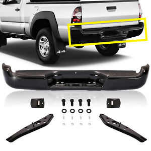 Black Rear Step Bumper Brackets License Lamp Bolts For 05 15 Tacoma Complete Set