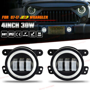 For 07 Jeep Wrangler Jk Led Fog Lights Angel Eyes Round Ring Driving Lamp