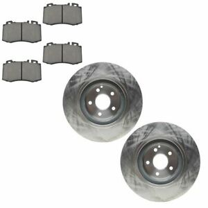 Front Non Drilled Rotor Semi Metallic Disc Brake Pad Kit For Mercedes Benz