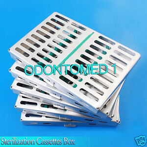 5 Dental Surgical Autoclave Sterilization Cassettes Racks Box For 10 Instruments