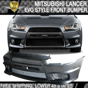 Fit 08 15 Lancer Gt Evo Front Bumper Cover Conversion Black Grille Fog Cover