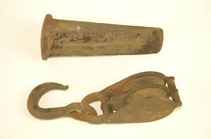 Vintage Primitive Hook And Pulley And Wood Splitter Wedge