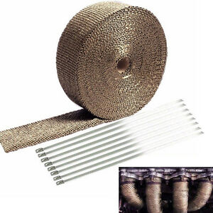 2 Titanium 50ft Exhaust Header Fiberglass Heat Wrap Tape 10 Ties Kit