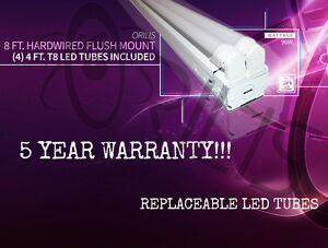 Orilis 8 96w Surface Mount Hardwired Ceiling Fixture 4 Led T8 Included 6500k