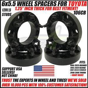6x5 5 Hub Centric Wheel Spacers For Toyota Tacoma 4runner 1 25 Inch 24 Lug Nuts