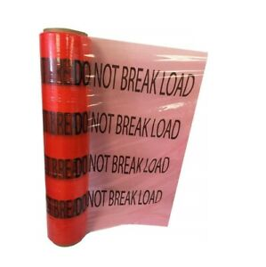 5 X 1000 Hand Stretch Wrap 80 Ga Red W Black Print do Not Break Load 12 Rolls
