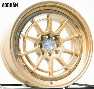 17x9 25 Aodhan Ah04 4x100 Gold Wheel Fits Integra Dc2 Mini Cooper S Jcw Concave