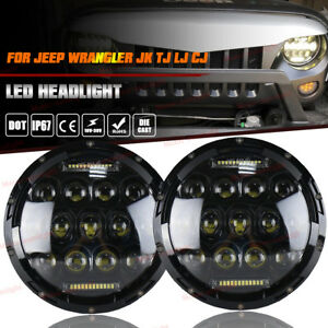 Pair 7 Inch Round Led Headlights High low drl For Jeep Wrangler Jk Lj Tj Cj Jku