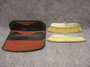 Foster Bailey Sterling Silver Clothes Brush Pair Travel Set W Carrier Wallet