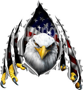 Eagle American Flag Rip Decal Rv Camper Trailer Truck Laminated