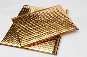 Gold Metallic Bubble Mailers 7 X 6 75 Padded Envelopes 250 Pieces Per Case