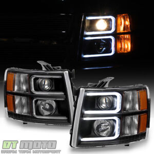 Black 2007 2013 Chevy Silverado Optic Led Projector Headlights Left Right 07 13