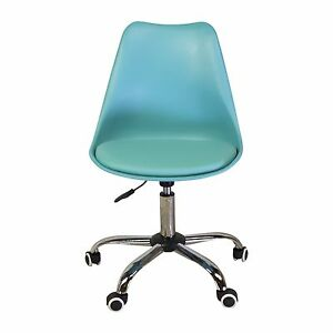 Mid century Modern Style Office Chair In Blue With Adjustable Seat