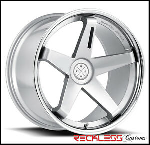 20 Blaque Diamond Bd21 Silver Staggered Wheels Rims Fits Ford Mustang Gt Gt500