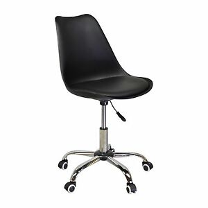 Mid century Modern Style Office Chair In Black With Adjustable Seat