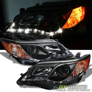 For Blk 2012 2013 2014 Toyota Camry Led Drl Strip Projector Headlights Headlamps