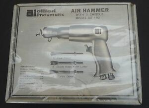Vintage Allied Pneumatic Air Hammer Tool W 3 Chisels New Sealed