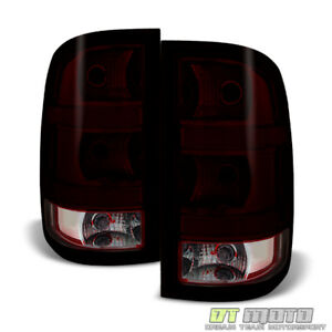 2007 2013 Gmc Sierra 1500 2500 3500 Red Smoke Tail Lights Brake Lamps Left right