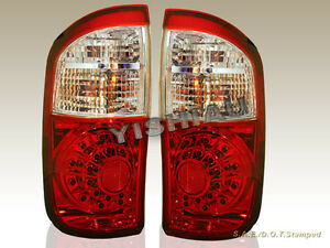 2004 2006 Toyota Tundra Double Cab Red Clear Led Tail Lights Rear Lamps