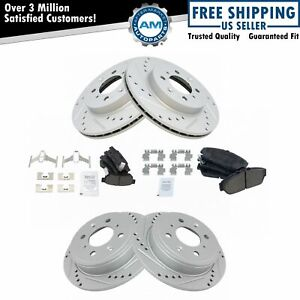 Rotor Brake Pad Ceramic Performance Drilled Slotted Front Rear Kit