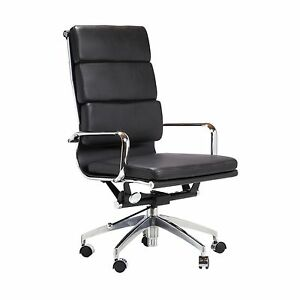 Replica Eames Group Aluminum Office Chair In Black Midcentury Modern Mid Back
