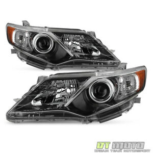 For 2012 2014 Toyota Camry Se Style Projector Blk Headlights Lamps Left Right