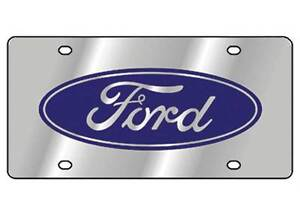 Ford Logo Classic Style Blue Stainless Steel License Plate