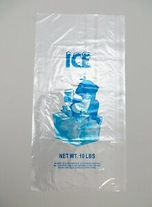 1000 Bags case Plastic Bag clear Printed Ldpe 10lb Ice Bags