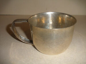 Nice Vintage Continental 800 Silver Hand Hammered Large Baby Cup