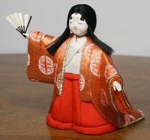 Vintage Japanese Girl Doll In Kimono Fan Dance Gofun Face High Quality
