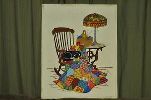 Vintage Knitted Scene Of The Cat Napping On The Quilted Blanket Signed T F V