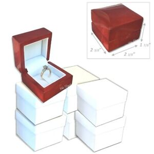 Lot Of 12 Pc Fancy Birch Wood Engagement Ring Gift Boxes Clip Ring Display Boxes