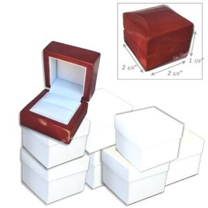 Lot 12 Fancy Birch Wood Engagement Ring Gift Box Ring Display Case Ring Box